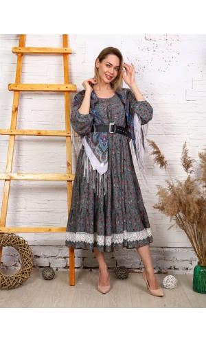 Платье макси с кружевом принт мелкий цветок цвет серый/зеленый