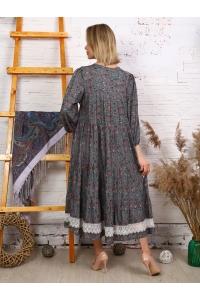 Платье макси с кружевом принт мелкий цветок цвет серый