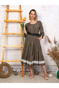 Платье с кружевом хаки мелкий цветок