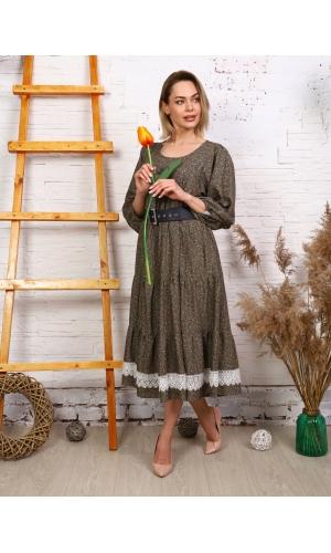 Платье штапельное макси с кружевом принт хаки мелкий цветок