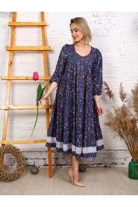 Платье с кружевом синее с мелким красный желтый цветок