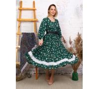 Платье с кружевом ярко - зеленое