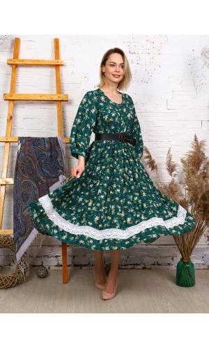 Платье макси летнее с кружевом ярко-зеленое