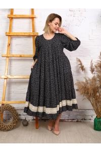 Платье макси с кружевом темно-синее с принтом белые цветы