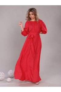 Платье в пол длина макси цвет горох красный
