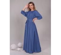Платье в пол длина макси цвет горох синий