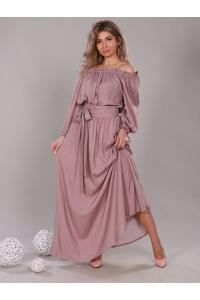 Платье в пол длина макси цвет горох бежевый