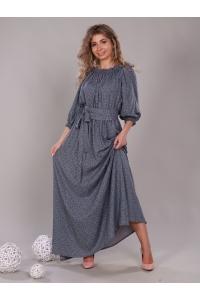 Платье в пол длина макси цвет серое мелкий цветок