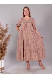 Платье повседневное ярусами с карманами