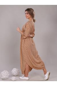 Платье прямое с боковыми разрезами бежевое мелкий цветок