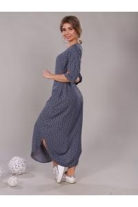 Платье прямое с боковыми разрезами синие мелкий цветок