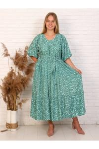 Платье повседневное ярусами, цвет зеленый, принт сердечки