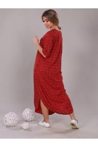 Платье прямое с боковыми разрезами красное мелкий цветок