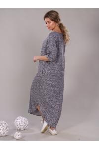 Платье прямое с боковыми разрезами серое мелкий цветок