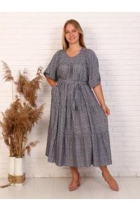 Платье повседневное ярусами, цвет серый