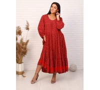 Платье макси с кружевом с принтом красное мелкий цветок