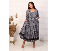 Платье с кружевом цвет серый рисунок бабочки