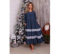 платье синий цветок с двойным кружевом
