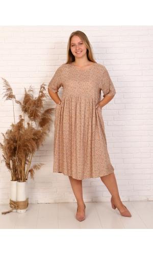 Платье миди, рукав короткий
