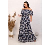 Платье длина макси на резинке короткий рукав с ромашками