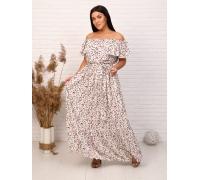 Платье на резинке белое с поясом