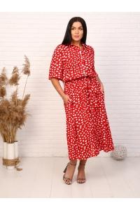 Платье из штапеля макси повседневное красное