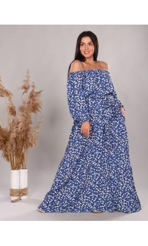 Платье повседневное в пол, принт белые цветы на синем фоне