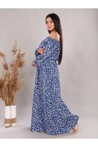 Платье повседневное в пол, принт синие цветы и листья