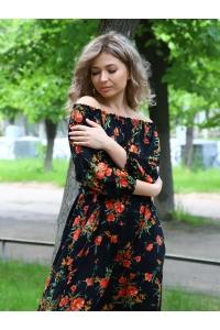 Платье повседневное в пол, принт красные цветы на черном фоне