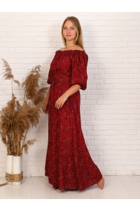 Платье повседневное в пол, принт красный