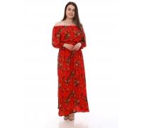 Платье повседневное в пол, цветы на красном фоне