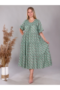 Платье повседневное в пол ярусами, цвет зеленый