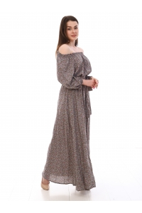 Платье повседневное в пол, принт мелкий цветок, серый цвет