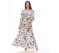 Платье повседневное в пол, принт черный бабочки на белом