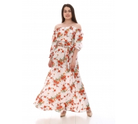Платье повседневное в пол, принт крупыне красные цветы на белом фоне
