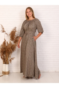 Платье повседневное в пол, принт болотный