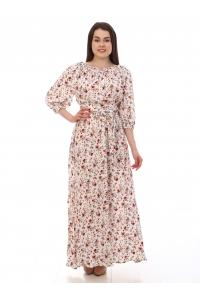 Платье повседневное в пол, с цветочным принтом на белом фоне