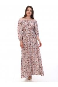 Платье повседневное в пол, с мелким цветочным принтом на серо-белом фоне