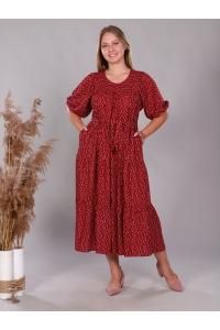 Платье повседневное в пол, цветочный принт красный
