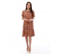 Платье повседневное миди, с мелким цветочным принтом, коричневое