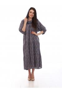 Платье повседневное с капюшоном, с мелким цветочным принтом, цвет серый