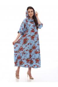 Платье повседневное с капюшоном, с цветочным принтом, цвет синий