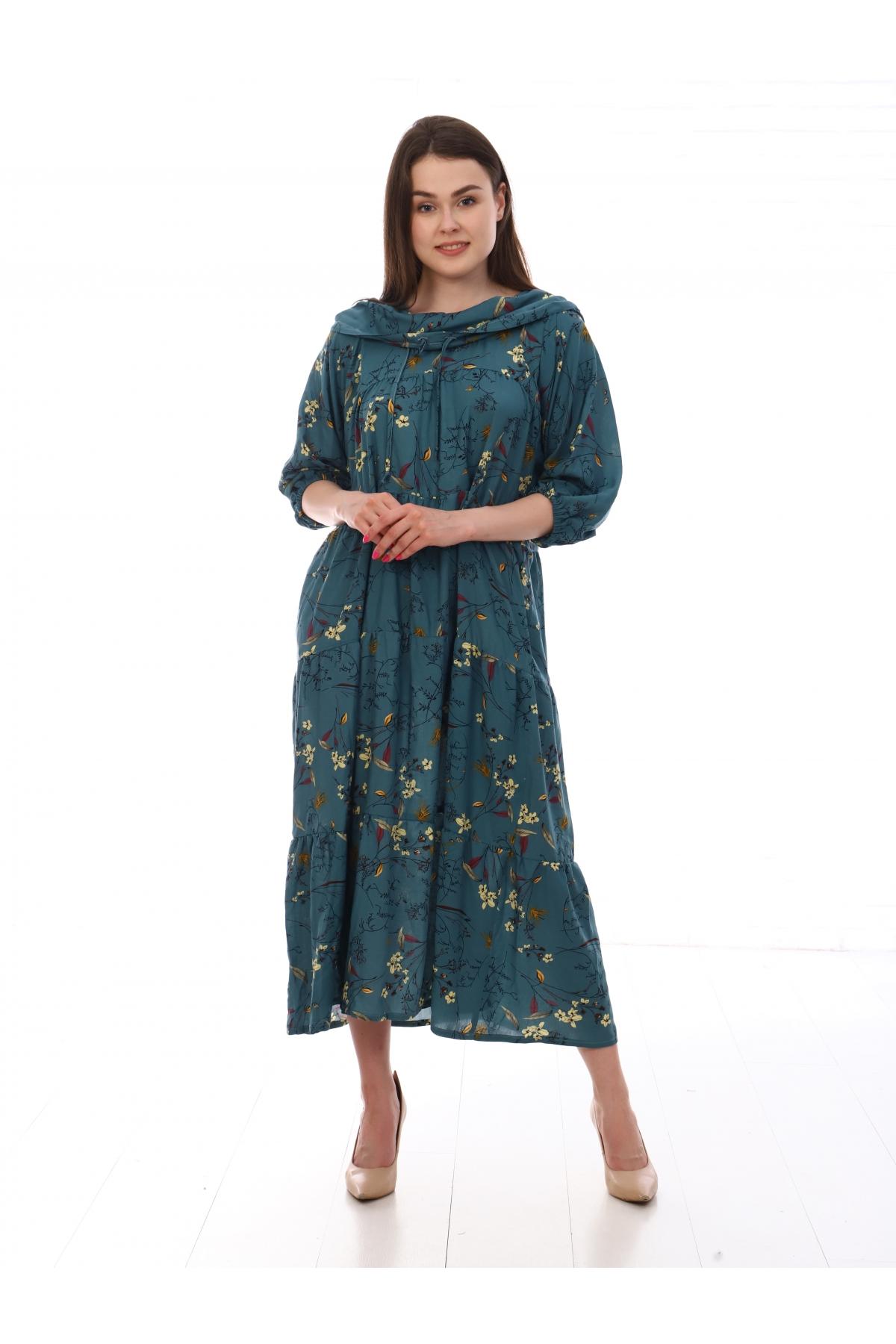 Платье повседневное с капюшоном, с цветочным принтом, зеленый цвет