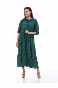 Платье повседневное с капюшоном, с цветочным принтом, зеленый