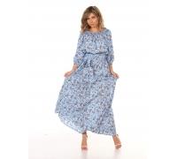 Платье повседневное в пол, принт цветы на голубом фоне