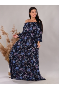 Платье повседневное в пол, принт цветы на синем фоне