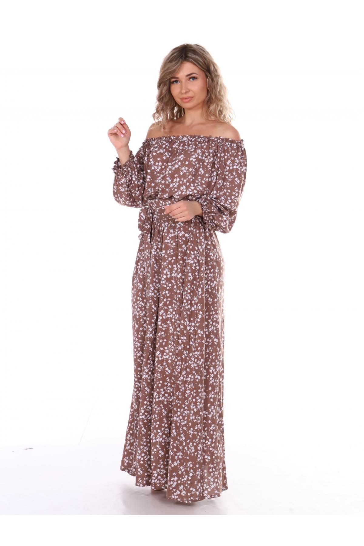 Платье повседневное в пол, цветочный принт, коричневый цвет