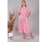 Платье повседневное в пол ярусами, принт листья, цвет розовый