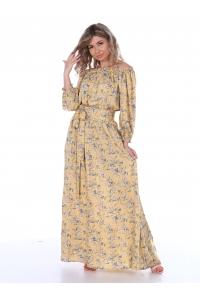Платье повседневное в пол, цветочный принт, желтый