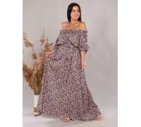 Платье повседневное в пол, цветочный принт, синий